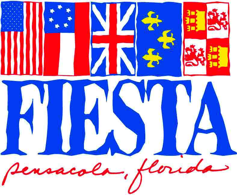 Graphic of the Fiesta Pensacola logo with the five historic flags of Pensacola displayed vertically over the name of the organization. From left: American, Confederate, British, French, Spanish.