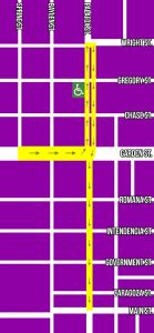 Map of downtown Pensacola showing parade route