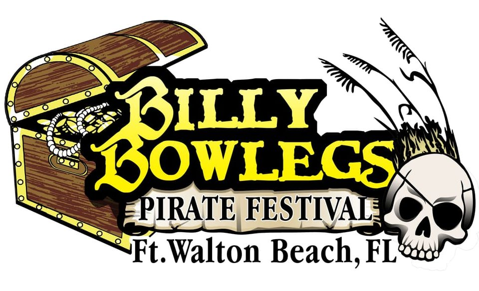 Graphic logo for the Billy Bowlegs Pirate Festival with a partially open treasure chest to the left of the name and a skull wearing an eye patch with sea oats behind to the right