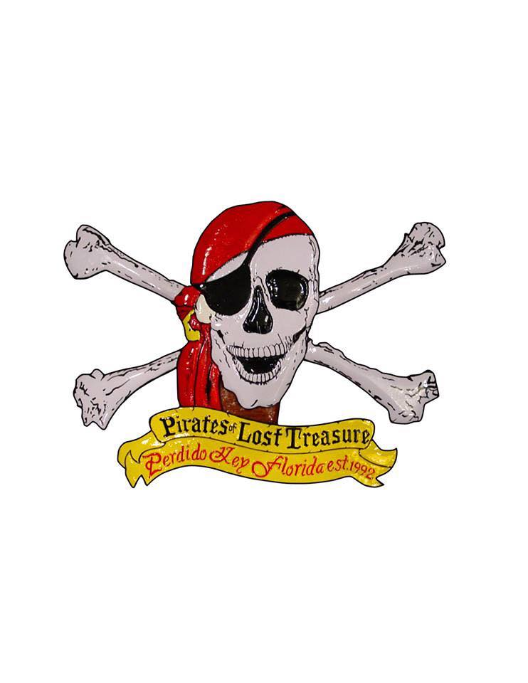 pirate skull and crossbones with krewe name below