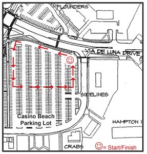 map of the kids and kritters parade route in casino beach parking lot