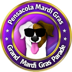 Marty, the canine mascot of Pensacola Mardi Gras Inc, wearing sunglasses with his tongue hanging out