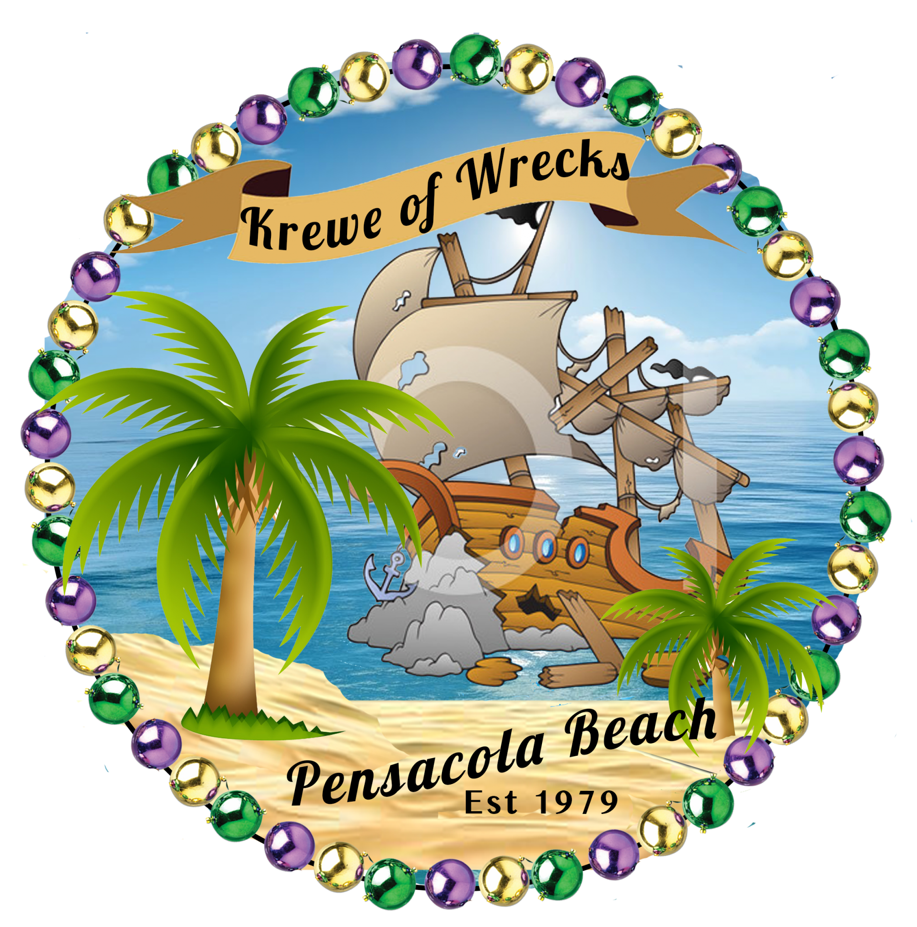 round logo of a shipwreck surrounded by purple, gold, and green beads with banner pronouncing Krewe of Wrecks and Pensacola Beach Est 1979